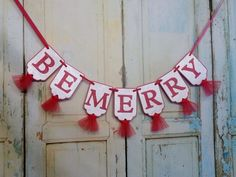 Be Merry Banner, Embossed Red and White Banner with Tulle, Christmas Decoration, Merry Christmas Ban Merry Christmas Banner, Holiday Banner, Christmas Signs, White Christmas, Christmas Wreaths, Christmas Decorations, Holiday Decor, Gold Banner, Party Banners