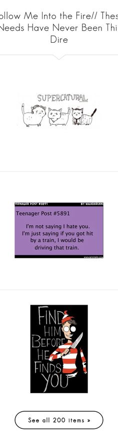 """""""Follow Me Into the Fire// These Needs Have Never Been This Dire"""" by allisonwang10011 ❤ liked on Polyvore featuring supernatural, quotes, text, teenager posts, sayings, words, phrase, saying, pictures and funny"""