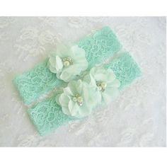 1 pair Mint Green Wedding Garter Set