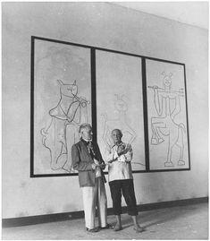 Pablo Picasso et Romuald Dor de la Souchère by Denise Colomb, 1952