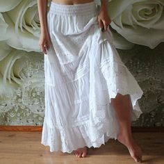 Boho Bohemian wedding skirt White color in floor length with cotton lace Plus size women bridal skirt Hippie wedding lace maxi long skirt Long Skirt Outfits, Long Maxi Skirts, Boho Skirts, Skirt White, White Skirts, Long Lace Skirt, Lace Maxi, Bridal Skirts, Wedding Skirt