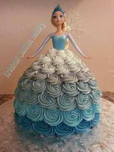 Frozen princess Elsa Halloween flower cake for 2014 - ombre flower, disney Bolo Frozen, Frozen Frozen, Frozen Cupcake Cake, Cupcake Cakes, Frozen Barbie Cake, Shoe Cakes, Frozen Birthday Party, Birthday Parties, 4th Birthday