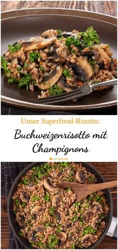 Bomba de proteínas: risotto de trigo sarraceno con champiñones - El risotto no siempre tiene que cocinarse con arroz. Superfood, Greek Diet, Stuffed Mushrooms, Stuffed Peppers, Mushroom Risotto, Buckwheat, Food Items, Tofu, A Food