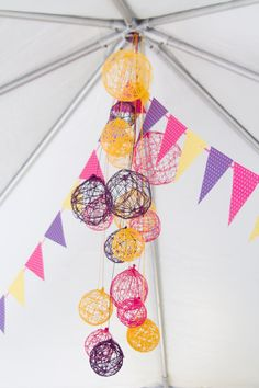 yarn balls - wrap yarn around inflated balloons then pop them when they're dried. yarn is dipped in glue mixture.