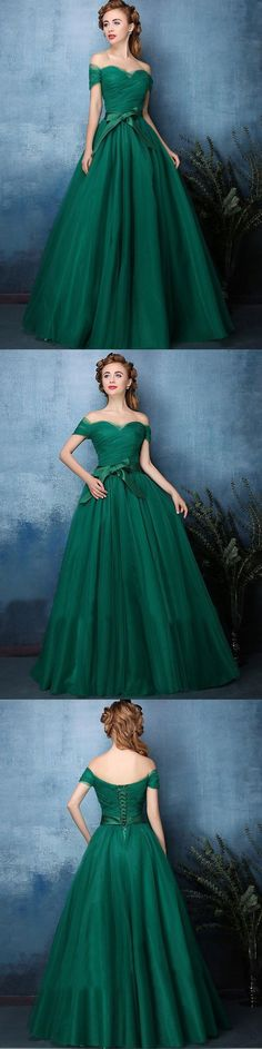 Hunter Green Prom Dresses A-line Off-the-shoulder Sexy Cheap Prom Dress/Evening Dress JKL349#annapromdress #prom #promdress #evening #eveningdress #dance #longdress #longpromdress #fashion #style #dress #huntergreen