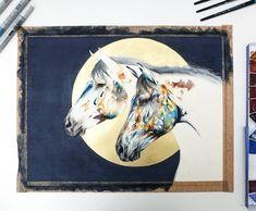 Contemporary watercolour work in progress update 🌑 Chloe Brown, London Art, Contemporary Artwork, Pet Portraits, Cosmos, Watercolor Art, Equestrian, Original Artwork, Gallery