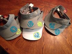 Love the placement on these heat transfer vinyl monogrammed visors