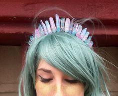 The Cotton Candy Goddess [Raw Pastel Pink & Blue Crystal Quartz Tiara / Crown], Mermaid Crown, EDC, Rave Headpiece, PLUR