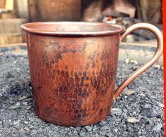 Copper Moscow Mule Mug 14 oz. Solid Copper in Hammered Chocolate Patina - NEW 2015