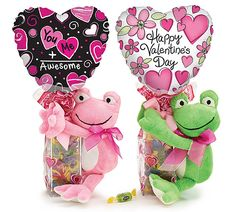 Plush frog premade valentine gift assortment with candy, ribbon curls, preinflated Valentines themed foil balloon. Assortments are subject to substitutions. Valentine Decorations, Valentine Crafts, Valentine Day Gifts, Best Gift Baskets, Holiday Gift Baskets, Candy Bouquet, Balloon Bouquet, Chocolates, Valentine Baskets