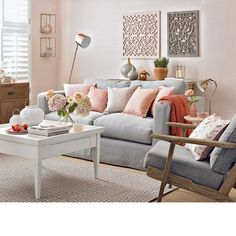 The living room color schemes to give the impression of a more colorful living. Find pretty living room color scheme ideas that speak your personality. Peach Living Rooms, Bold Living Room, Living Room Color Schemes, Paint Colors For Living Room, Living Room Modern, Home And Living, Living Room Designs, Small Living, Grey Living Room Ideas Colour Palettes