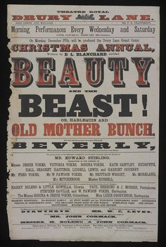 Beauty and the Beast poster by Judd & Glass, 1869 | Victoria and Albert Museum #Christmas #Theatre #Victorian #Pantomime