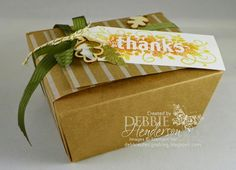 Stampin' Up! Takeout Boxes, Festive Designer Kraft Paper Roll, Seasonally Scattered stamp set & Autumn Wooden Elements. Debbie Henderson, Debbie's Designs.