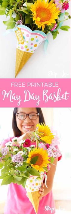 Free printable May Day basket! Surprise your friends with this sweet gift cone of flowers.