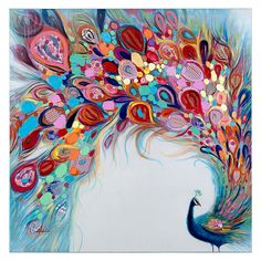 "The colorful and lighthearted ""Peacock Flourish"" Canvas Wall Art brightens any room with its sense of whimsy. The original acrylic painting is done on cotton canvas, which is gallery wrapped on wood stretchers. Peacock Wall Art, Peacock Painting, Fabric Painting, Holi Painting, Peacock Blue Paint, Wooden Wall Art, Canvas Wall Art, Canvas Paintings, Wall Art Prints"