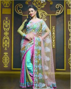 Multi Color Crepe Designer Saree 2524 With Unstitch Blouse Indian Outfits, Indian Clothes, Blouse Online, Indian Fashion, Fashion Dresses, Sari, Turquoise, Dress Styles, How To Wear