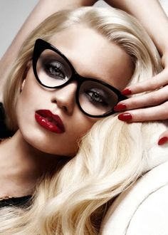 "ღ•کyℓ√iα ツ ♡ INSPIRATION: ""DO GIRLS WHO WEAR GLASSES MAKE ALLURING PASSES?"" TOM FORD EYEWEAR S'11- MAKEUP: Charlotte Tilbury, PHOTO: Tom Ford, MUSE: Abbey Lee Kershaw. Compliment your accessories with the perfect red lip!"