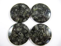 Vintage Lot of 4  Large Art-Deco Marbled Gray Carved Bakelite  / Celluloid  Buttons * 35 mm *** # B-207 by TheTreasureBoxOrna on Etsy