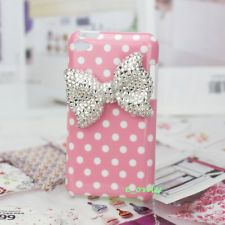 justice ipod cases for girls | Girl Bling Crystal Bow Pink Polka Dot Back Cover Case For iPod Touch ...