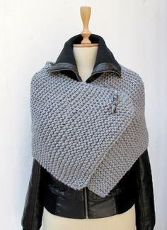 Tejer capa Poncho tejido hecho punto abrigo por crochetbutterfly