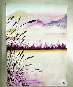 An evening by the shore !!   #evening #watercolor #painting #seashore #silent #calm #cozy #blurred #random #sky #art #hobby