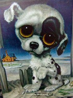 """This conjures up some odd emotions from my childhood. I was so terribly sad for this """"Pity Puppy"""", yet I couldn't help looking at it. These were popular in the 60's and 70's and this one was created by artist Margaret Keane and is known as the """"mother of big-eye art""""."""