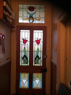 First stained glass door in hallway at Ormondville Police Station 2006 Stained Glass Door, Police Station, Doors, Frame, Home Decor, Picture Frame, Decoration Home, Room Decor, Frames