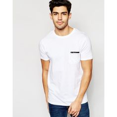 Brave Soul Plain Zip Pocket T-Shirt (21 CAD) ❤ liked on Polyvore featuring men's fashion, men's clothing, men's shirts, men's t-shirts, white, mens white t shirts and mens white shirt