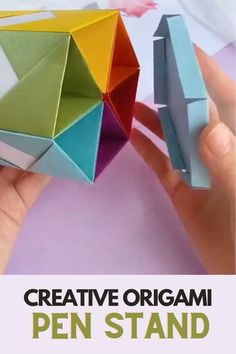 Creative #Origami #PEN STAND. #DIY Paper Folding Crafts, Paper Crafts Origami, Origami Toys, Origami Videos, Origami Folding, Useful Origami, Easy Origami Star, Easy Origami For Kids, Simple Origami