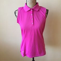 Adidas PureMotion Ladies golf shirt Size Medium Pink sleeveless collared golf shirt. Size medium. It is in almost perfect condition with no holes or stains. The inside care instructions have been ripped out though. Adidas Tops Tank Tops