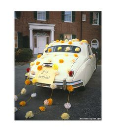 Tissue Paper Pom Garland Wedding Car Decorating Kit: choose your colors on Etsy, $50.00