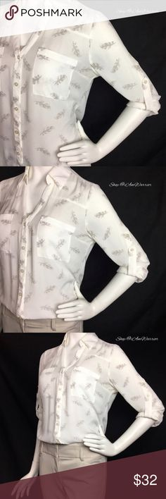 Express Portofino semi sheer feather print blouse Gorgeous ivory semi sheer button down blouse with tan feather print, front pockets and adjustable 3 way roll up sleeves. Great condition, print no longer sold in stores!  2nd photo is the plain version, shown just for styling. It's a such a great blouse! Please read my recently updated bio regarding closet policies prior to any inquiries. Express Tops Blouses