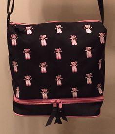 Dance Tote Bag by Horizon Dance, Pink Embroidered Ballet Shoes on Black Bag #HorizonDance