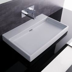 WS Bath Collections Urban Ceramic White / 0 Faucet Holes Ceramica I Single Basin Vessel or Wall Mounted Bathroom Sink with Overflow How To Install Countertops, Bathroom Countertops, Sink Countertop, Laminate Countertops, Backsplash, Contemporary Bathroom Sinks, Modern Sink, Contemporary Interior, Contemporary Style