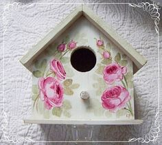 Sale Chic Bird House  Hand Painted Pink by handpaintedpinkroses, $12.00