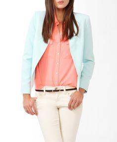 """Model Info:Height: 5'11""""   Bust: 34   Waist: 24   Hip: 35   Wear Size: Small             Collarless Open Jacket            Collarless Open Jacket"""
