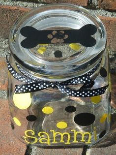 DIY: Glass container from dollar store and decals, to make a Personalized Pet Treat Jar.