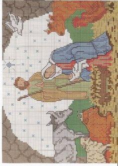 Solo Patrones Punto Cruz (pág. 1596) | Aprender manualidades es facilisimo.com Christmas Embroidery Patterns, Needlepoint Patterns, Cross Stitch Charts, Cross Stitch Patterns, Cross Stitching, Cross Stitch Embroidery, Cross Stitch Flowers, Religious Cross, Christmas Cross
