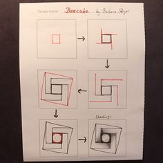 Baecube Tangle Pattern by Barbara Steyer – TangleSXM Illusion Drawings, Illusion Art, Tangle Doodle, Tangle Art, Doodle Art, Zentangle Drawings, Doodles Zentangles, Doodle Patterns, Zentangle Patterns
