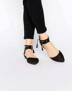 New+Look+Lace+Up+Pointed+Flat