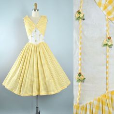 Vintage 50s Kerrybrooke Yellow GINGHAM Dress / 1950s Cotton Sundress Plaid FLORAL APPLIQUE Bow Full Swing Skirt Garden Party Pinup M Medium by GeronimoVintage on Etsy