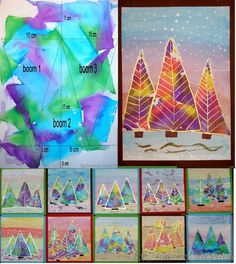 Kleurrijke kerstbomen met ecoline Classroom Art Projects, School Art Projects, Art Classroom, Projects For Kids, Diy For Kids, Crafts For Kids, Diy Christmas Cards, Christmas Crafts, Elementary Art Lesson Plans