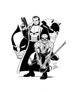 Punisher, Spider-Man, Wolverine & Daredevil by John Romita Jr. & John Romita Sr.