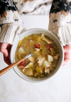 Green Chile Chicken Stew: A simple chicken soup with potatoes, but when you add in the roasted green chile, you've got the perfect comfort food stew.