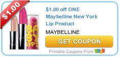 Maybelline Printable Coupon - $1/1 NY Lip Product #makeup #discounts #coupons
