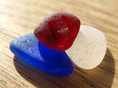 Sea Glass  - Red, White and Blue - Jewelry Supplies