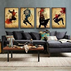 """Universe of goods - Buy """"Modern Abstract Handpainted Oil Painting Canvas Paintings Movie Superhero The Avengers Iron Man Thor Captain America Spiderman"""" for only 58 USD. Comic Book Rooms, Comic Room, Superhero Canvas, Superhero Room, Modern Wall Decor, Wall Art Decor, Room Decor, Oil Painting Abstract, Abstract Wall Art"""