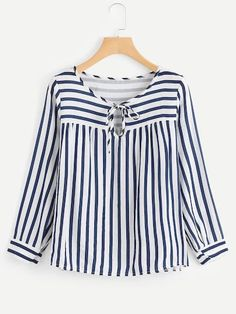 SheIn offers Contrast Stripe Tie Neck Blouse & more to fit your fashionable needs. Mode Outfits, Casual Outfits, Fashion Outfits, Women's Casual, Fashion Clothes, Casual Wear, Kurta Designs Women, Blouse Designs, Blouse Patterns