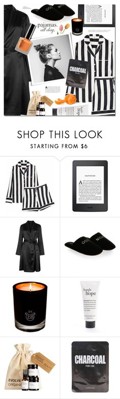 """PJs All Day: Lovely Loungewear"" by ames-ym ❤ liked on Polyvore featuring Iris & Ink, Amazon, La Perla, Minnie Rose, EB Florals, philosophy and Lapcos"