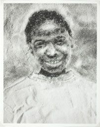 Vik Muniz. Jacinthe Loves Orange Juice (part of the Sugar Children series). 1996. Gelatin silver print.  33.7 x 26.7 cm. The Sugar Children series consists of portraits of the children of sugar plantation works, using white sugar on black paper. They're so moving because the viewer approaches the picture with a certain sense of the hardship of plantation workers' lives, but walks away with an encounter with a real child, in all her unique beauty.